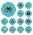 flat icons zoom ship lifesaver and other vector image vector image