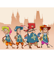 four cartoon funny characters soldiers Musketeers vector image vector image