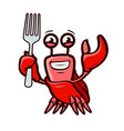 funny crab holds fork seafood cartoon vector image vector image