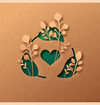green recycle waste cycle care paper cut concept vector image