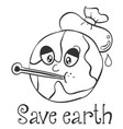 hand draw save earth design vector image vector image