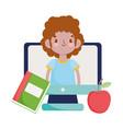 happy teachers day student boy in video computer vector image vector image