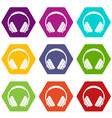 headphone icon set color hexahedron vector image vector image