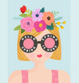 hello spring romantic banner with cute girl vector image