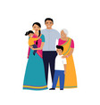 indian family three generations family set of vector image