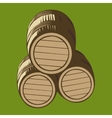 isolated wooden barrels vector image vector image