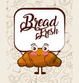 kawaii bread fresh croissant cartoon bake vector image vector image
