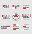 made in indonesia icon set product labels the vector image