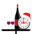 new 2014 year with bottle of wine and clock vector image