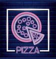 pizza neon light label vector image