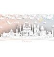 prague czech republic city skyline in paper cut vector image vector image