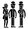 Restaurant team workers waiter cooker bartender vector image