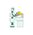robot home assistant washing dishes in kitchen vector image