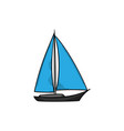 sailboat hand drawn icon design isolated vector image