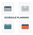 schedule planning icon set four elements in vector image