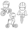 set of cyclist vector image