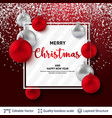 shiny christmas balls and text on red background vector image vector image