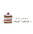 stack books with apple on top back vector image vector image