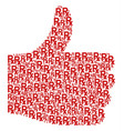 thumb up figure of rx symbol icons vector image vector image