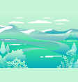 village landscape in trendy flat style mountains vector image vector image