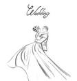 wedding couple line art lovely couple hugs vector image vector image