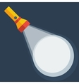 Yellow flashlight in flat style on dark background vector image vector image
