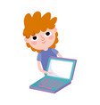 young man with laptop computer social media vector image vector image