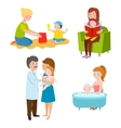Young mother characters vector image vector image