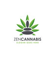 zen stone and cannabis leaf logo icon template vector image