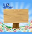 blue bird wooden nature sign vector image