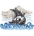 drekar boat - an hand drawn vector image