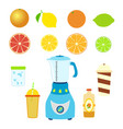 set of juice ingredients mixer blender bottle cups vector image