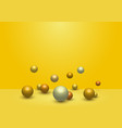 3d dynamic 3d spheres glossy balls on yellow vector image