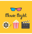 3D glasses Movie reel Open clapper board Popcorn vector image vector image