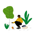 african american man gathering garbage and plastic vector image vector image