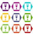 bar code scanner icon set color hexahedron vector image vector image