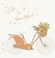 Bicycle with a basket full of flowers vector image vector image