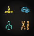 biohacking concept icon set in neon style vector image vector image