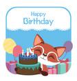 birthday with cute fox vector image
