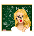 blonde business woman in glasses near the vector image vector image