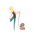 blonde girl walking her pug dog vector image vector image