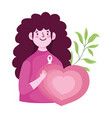 breast cancer awareness month woman heart love vector image vector image