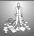 businessman with his briefcase standing among vector image
