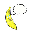 cartoon happy banana with thought bubble vector image vector image