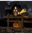cartoon house at night with a crow with a pumpkin vector image vector image