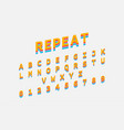 colorful repeat font reto bold font alphabet in vector image vector image