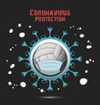coronavirus sign and volleyball ball with mask