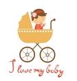 Cute baby girl in pram vector image vector image