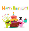 cute monsters with birthday cake vector image vector image