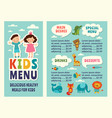 design template of kids menu with colored funny vector image
